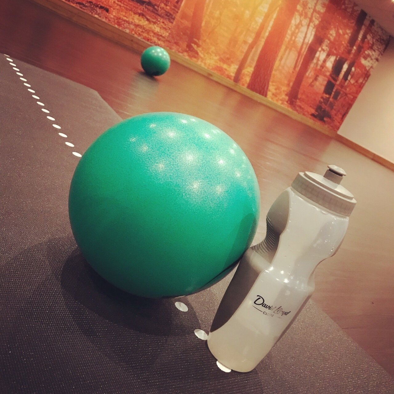 Setting up for Pilates class with ball, matt and water bottle