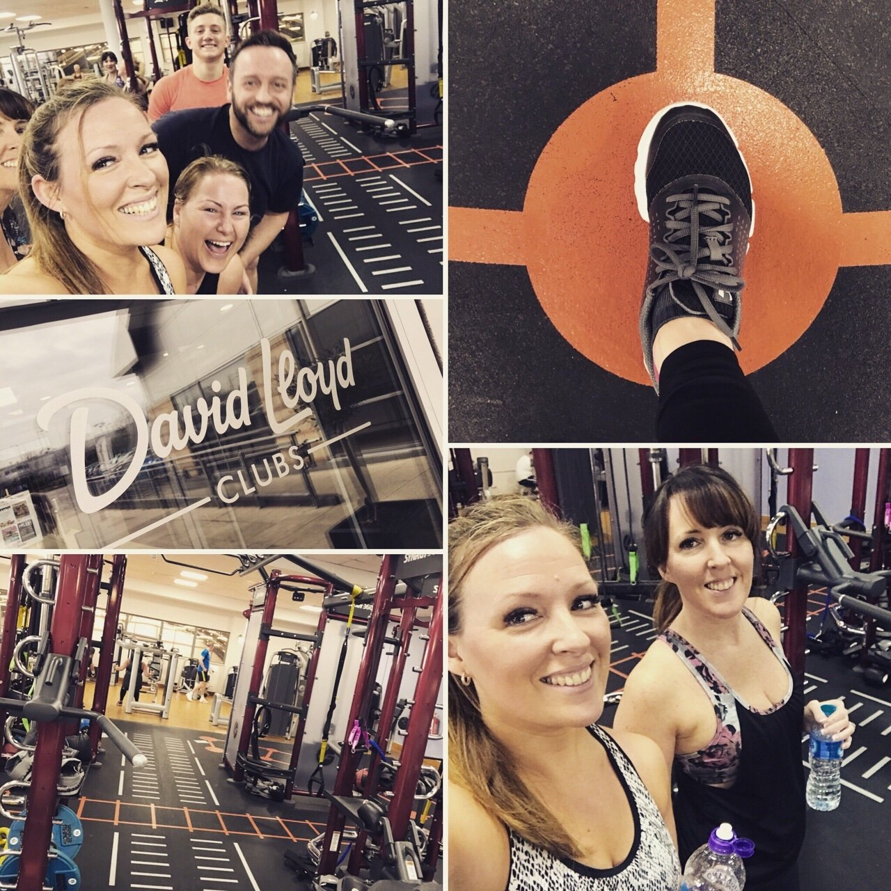 david lloyd collage, gym equipment and people smiling