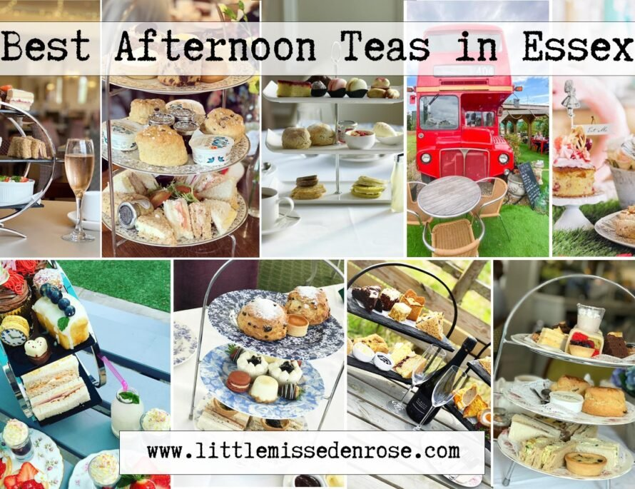 The List of Best Afternoon teas in essex by little miss eden rose. A collage of afternoon teas across essex