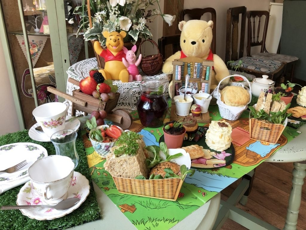 Full set up, ckes and sandwiches Silly Old Bear Themed Afternoon Tea