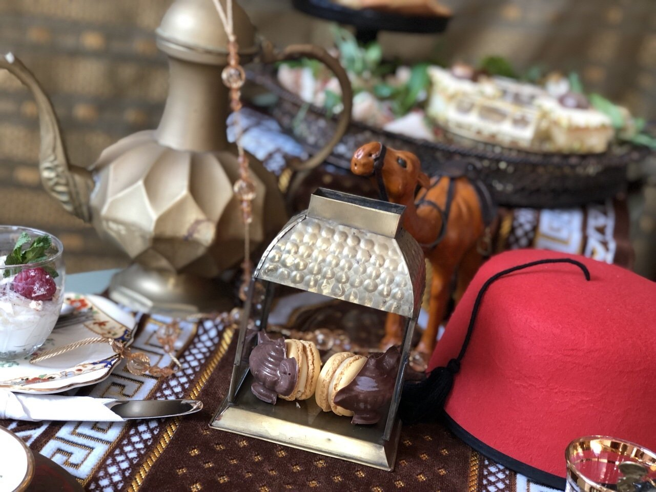 Genie lamp macaroons from Aladdin themed afternoon tea