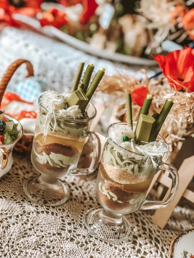 Emerald city parfait desserts at wizard of Oz Afternoon tea