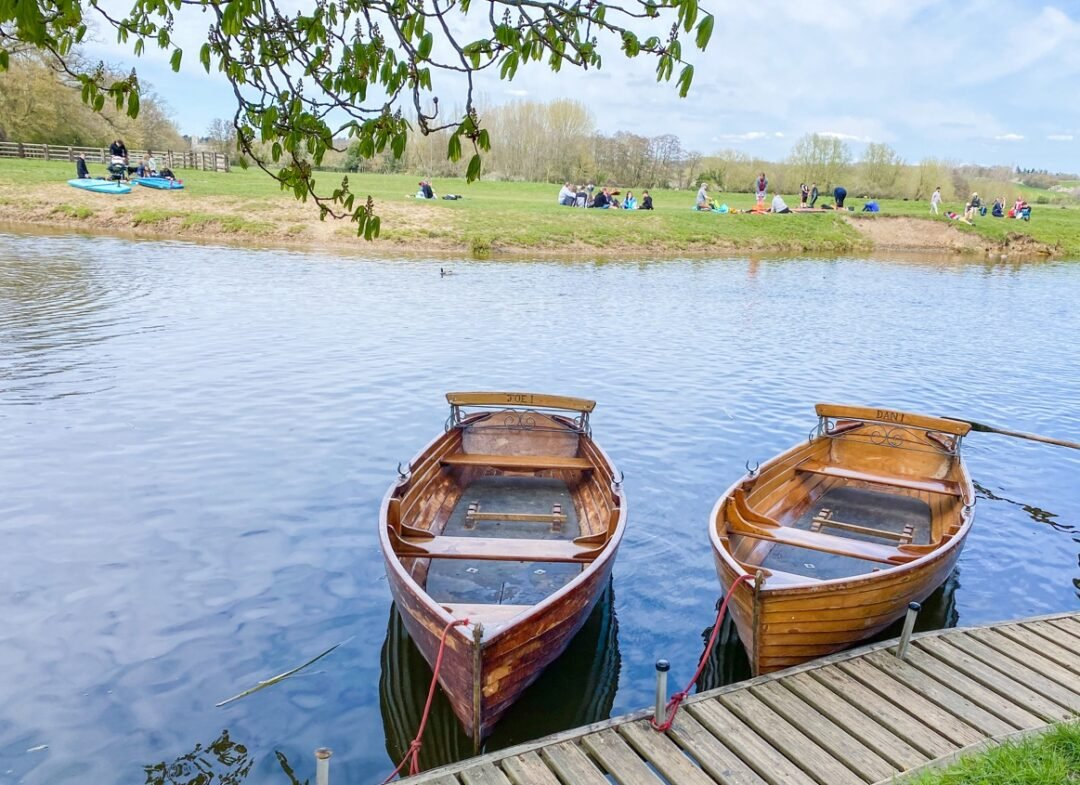 Dedham Boathouse Boat Hire in Essex. views of constable country overlooking river stour. And rowing boats.